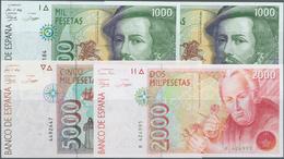 Spain / Spanien: Set Of 4 Notes Containing 2x 1000 Pesetas ND P. 163 (aUNC & UNC), 2000 Pesetas Seri - Spain