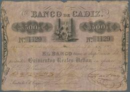 Spain / Spanien: Banco De Cadiz 500 Pesetas 1845 P. S283, Stronger Used With Strong Horizontal And V - Spain