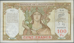 Tahiti: 100 Francs ND P. 14c, Vertical And Horizontal Fold, A Few Minor Pinholes, Minor Border Tears - Billetes