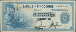 Tahiti: 1000 Francs ND(1943) P. 18b, Used With Folds, Stain Of Paper Clip At Upper Left, Black Overp - Billetes
