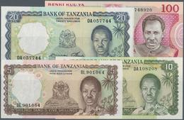 Tanzania / Tansania: Set Of 4 Banknotes Containing 5, 10 & 20 Shillings ND P. 1-3 And 100 Shillings - Tanzania