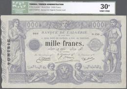 Tunisia / Tunisien: 1000 Francs 1924 P. 7b, In Condition: ICG Graded 30* VF. - Tunisia