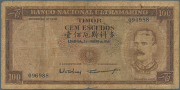 Timor: About 100 Pcs 100 Escudos 1959, Stronger Used With Stain And Folds In Paper, Condition: VG. ( - Timor