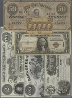 United States Of America: Set Of 34 Notes Containing Confederate States 50 Dollars 1864, Postage Cur - United States Of America