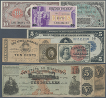 United States Of America: Nice Lot Of About 50 Banknotes Of Fractional, Large Size, Obsolete And MPC - United States Of America