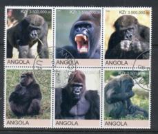 Angola 2000 Gorillas Blk6 (rebel Issue) CTO - Angola