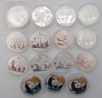China - Volksrepublik: Lot 18 X 1 OZ Silber Panda Diverse Jahrgänge, Dabei: 1 X 2000, 1 X 2003 Einge - China