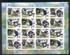 Angola 2011 WWF Angola Guenons, Monkey IMPERF Sheetlet MUH - Angola