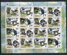Angola 2011 WWF Angola Guenons, Monkey Sheetlet MUH - Angola