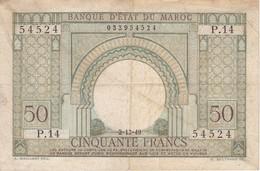 BILLETE DE MARRUECOS DE 50 FRANCS DEL AÑO 1949 (BANKNOTE-BANK NOTE) - Maroc