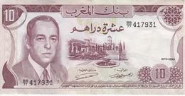 BILLETE DE MARRUECOS DE 10 DIRHAMS DEL AÑO 1970 EN CALIDAD EBC (XF) (BANKNOTE) - Marocco