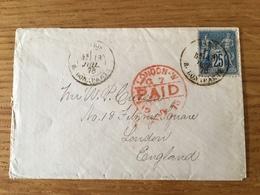 France - Type Sage - Lettre Pour Londres 1878 - Cachet Rouge London Paid - (F095D) - 1876-1898 Sage (Type II)