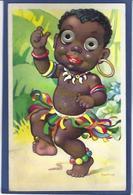 CPA Négritude Petits Noirs Humour Humor écrite Système Yeux Qui Bougent - Babies