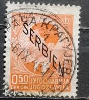 KING PETER II-0.50 D-OVERPRINT SERBIA-GERMAN OCCUPATION-WWII-POSTMARK KRAGUJEVAC-SERBIA-1941 - Serbia