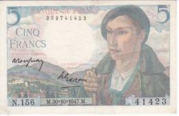 BILLETE DE FRANCIA DE 5 FRANCS DEL 30-10-1947 BERGER  (BANKNOTE) - 1871-1952 Antiguos Francos Circulantes En El XX Siglo