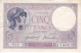 BILLETE DE FRANCIA DE 5 FRANCS DEL 14-10-1918 VIOLET  (BANKNOTE) - 1871-1952 Antiguos Francos Circulantes En El XX Siglo