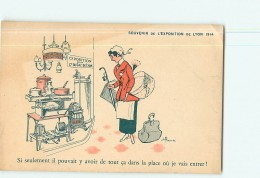 LYON -Exposition 1914 - Carte Illustrateur Mirande - Stand Compagnie Du Gaz  - 2 Scans - Sonstige