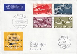 LIECHTENSTEIN 1960 LETTRE DE VADUZ PAR HELICOPTERE - Poste Aérienne