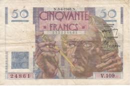 BILLETE DE FRANCIA DE 50 FRANCS DEL 8-4-1948  (BANKNOTE) LE VERRIER - 1871-1952 Circulated During XXth