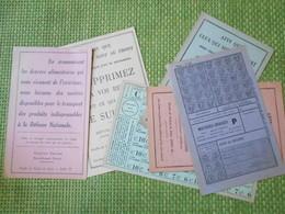 Militaria. Tickets De Rationnement. Ravitaillement. Occupation. 1939 1945.  WW2. 6 Documents.. - Army & War