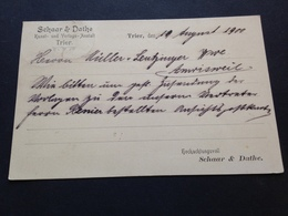 SCHAAR & DATHE - KUNST- UND VERLAGS-ANSTALT - TRIER - 1900 - Mitteilung