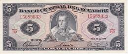 BILLETE DE ECUADOR DE 5 SUCRES DEL AÑO 1977 EN CALIDAD EBC (XF) (BANKNOTE) - Equateur