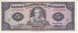 BILLETE DE ECUADOR DE 5 SUCRES DEL AÑO 1980 EN CALIDAD EBC (XF) (BANKNOTE) - Ecuador