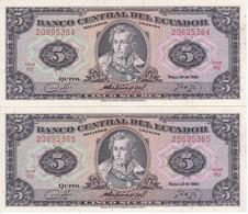PAREJA CORRELATIVA DE ECUADOR DE 5 SUCRES DEL AÑO 1980 EN CALIDAD EBC (XF) (BANKNOTE) - Ecuador