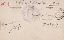 """Cachet """" Commissaire Militaire Gare De Tarbes """"sur CP De Saint Sauveur - WW I"""