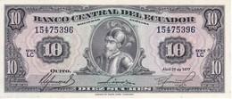 BILLETE DE ECUADOR DE 10 SUCRES DEL AÑO 1977 EN CALIDAD EBC (XF) (BANKNOTE) - Equateur