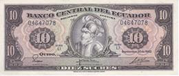 BILLETE DE ECUADOR DE 10 SUCRES DEL AÑO 1982 EN CALIDAD EBC (XF) (BANKNOTE) - Equateur