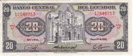 BILLETE DE ECUADOR DE 20 SUCRES DEL AÑO 1980 EN CALIDAD EBC (XF) (BANKNOTE) - Equateur