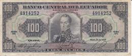 BILLETE DE ECUADOR DE 100 SUCRES DEL AÑO 1968 (BANKNOTE) - Equateur