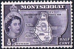 MONTSERRAT, COLONIA CORONA BRITANNICA, BRITISH CROWN COLONY, ELISABETTA II, MAPPA, 1956,  (MNH**), YT 133    Scott 128 - Montserrat