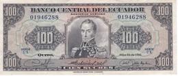 BILLETE DE ECUADOR DE 100 SUCRES DEL AÑO 1980 (BANKNOTE) - Equateur