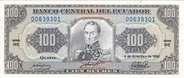 BILLETE DE ECUADOR DE 100 SUCRES DEL AÑO 1992 SIN CIRCULAR-UNCIRCULATED (BANKNOTE) - Equateur