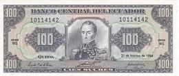 BILLETE DE ECUADOR DE 100 SUCRES DEL AÑO 1994 SIN CIRCULAR-UNCIRCULATED (BANKNOTE) - Equateur