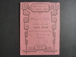 """VIET-NAM DALAT  Annam  ECOLE DES FRERES LE """" SACRE-CŒUR""""  Bulletin Scolaire 1944   ......clas 4 - Diplomi E Pagelle"""