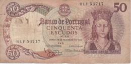 BILLETE DE PORTUGAL DE 50 ESCUDOS DEL AÑO 1964 SERIE BLF   (BANK NOTE) - Portugal