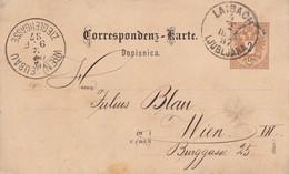 AUTRICHE 1887  ENTIER POSTAL CARTE DE LAIBACH - Stamped Stationery