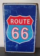 Rare Plaque Tôle ROUTE 66 US Style EMAIL 20X30 VINTAGE HARLEY DAVIDSON MOTO Bleu - Motos