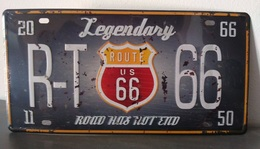 Rare Plaque Tôle LEGENDARY ROUTE 66 US Style EMAIL 15X30 VINTAGE HARLEY MOTO - Motos
