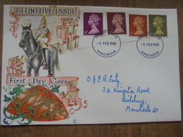 S009: FDC: Definitive Issue. 05/02/1968. 6d, 2d, 0.5d & 1d. Manchester. - FDC