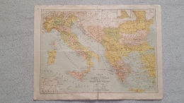 CARTE  ITALIE TURQUIE GRECE ROUMANIE SERBIE MONTENEGRO RECTO VERSO GRAVEE PAR HAUSERMANN  41 X 31 CM - Geographical Maps