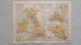 CARTE ILES BRITANNIQUES ECOSSE IRLANDE PAYS BAS RECTO VERSO  IMP  LEMERCIER  41 X 31 CM - Cartes Géographiques