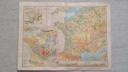 CARTE FRANCE HYPSOMETRIQUE RECTO VERSO 41 X 31 CM - Geographical Maps