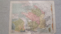 CARTE FRANCE PAR BASSINS  IMP  MONROCQ 41 X 31 CM - Cartes Géographiques