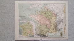 CARTE FRANCE PAR BASSINS  ET FRANCE HYDROGRAPHIQUE  RECTO VERSO 41 X 31 CM - Geographical Maps