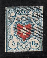 SUISSE - SWITZERLAND YV. NUM. 20  RAYON I  OBLITERÉ   CAT. 130E. - 1843-1852 Federal & Cantonal Stamps