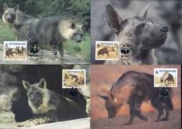 Botswana 1995 WWF Brown Hyena Maxicards - Botswana (1966-...)